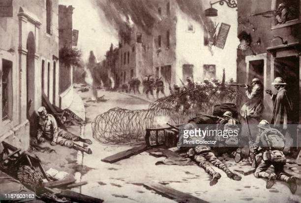 How the Italians Drove the Austrians out of Burning Asiago', 1917. Asiago was nearly destroyed in the war having seen many battles between Italian...
