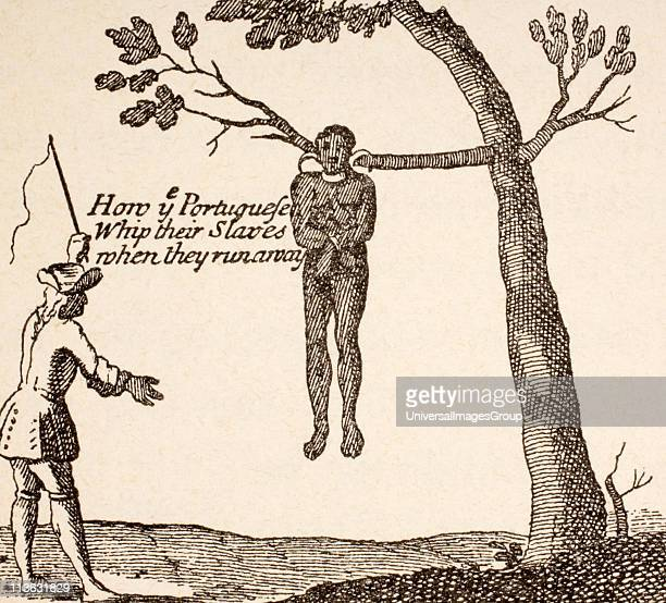How the Portuguese whip their slaves when they run away After a sketch in Relation d'un Voyage fait en 1695 1697 by Francois Froger published Paris...