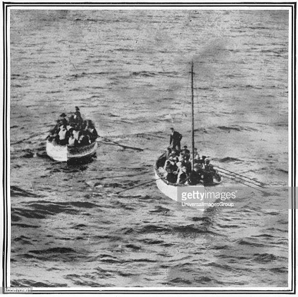 How the Titanic Survivors Were Picked up by the Carpathia Photograph taken by Mr J W Barker of two lifeboats containing passengers from the Titanic...