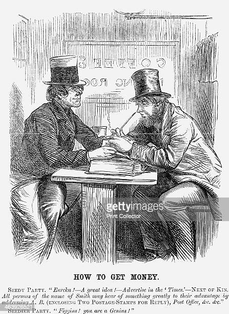 'How to Get Money' 1859 Two con men sit at a table in a coffee house hatching a plan to fleece members of the public From Punch or the London...