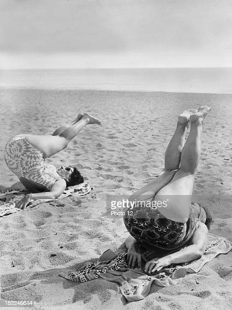 How to get rid of cellulite Gymnastics lesson on the beach Private Collection