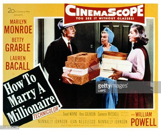 How To Marry A Millionaire lobbycard William Powell Marilyn Monroe Lauren Bacall 1953