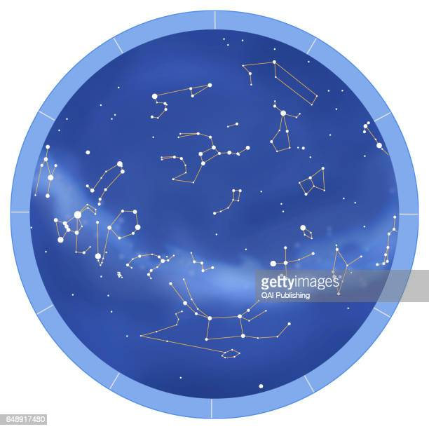 How to use the chart After choosing the map of the sky for the hemisphere where you live place this book on a flat surface With the help of a compass...