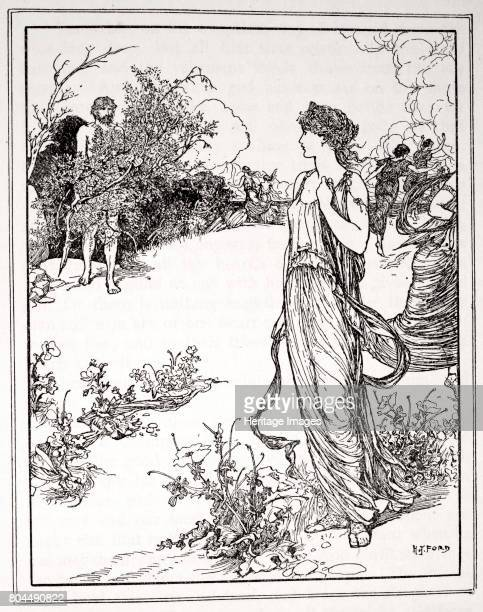 How Ulysses met Nausicaa' 1926 Ulysses encounters Nausicaa the beautiful daughter of King Alcinous A print from Tales of the Greek Seas by Andrew...