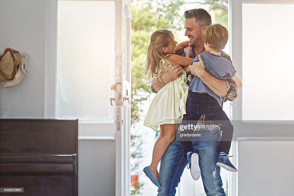 Wie war dein Tag daddy? : Stock-Foto