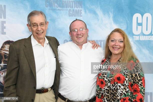 """Howard Baskin, Cy and Carole Baskin attend the Los Angeles theatrical premiere of """"The Conservation Game"""" on August 28, 2021 in Santa Monica,..."""