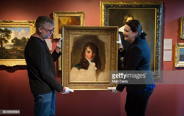 Howard Batho exhibitions officer and director Jennifer Scott hold up the Holburne Museum's latest acquisition a portrait of Arthur Atherley by Thomas...