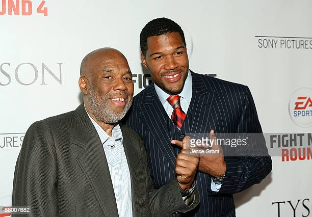 Howard Bingham and Michael Strahan arrive at the Los Angeles premiere of 'Tyson' at the Pacific Design Center on April 16 2009 in West Hollywood...