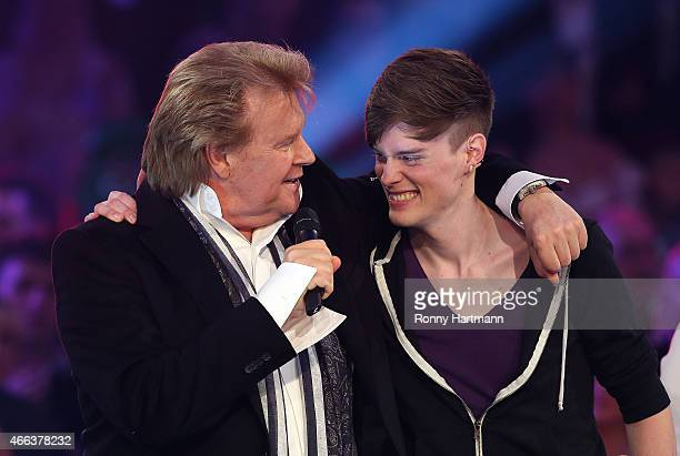 Howard Carpendale and his son Cass Carpendale during the 'Die Besten im Fruehling' TV show at GETEC Arena on March 14 2015 in Magdeburg Germany