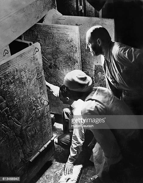 Howard Carter and AR Callender who discovered the stone sarcophagus open Tutankhamun's tomb in the Valley of the Kings Egypt in 1922