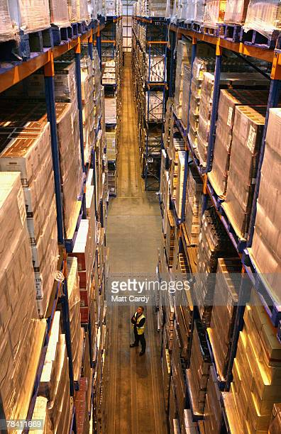 Howard Cobb checks the stock about to be sent out at the giant distribution centre in Avonmouth on December 12 2007 near Bristol England The giant...