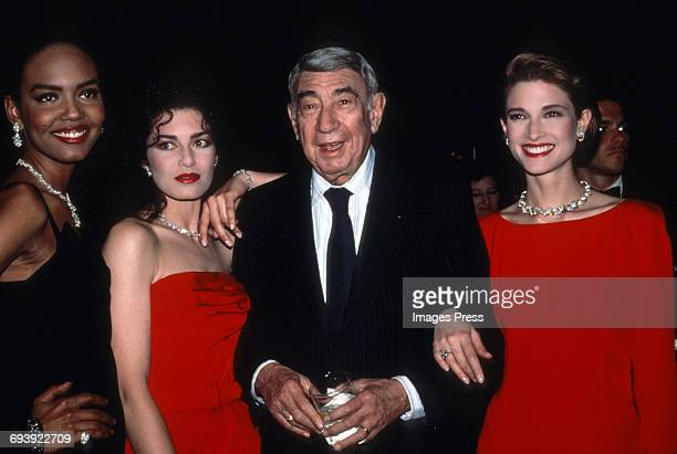 Howard Cosell with models at the Night of 100 Stars III AfterParty circa 1990 in New York City