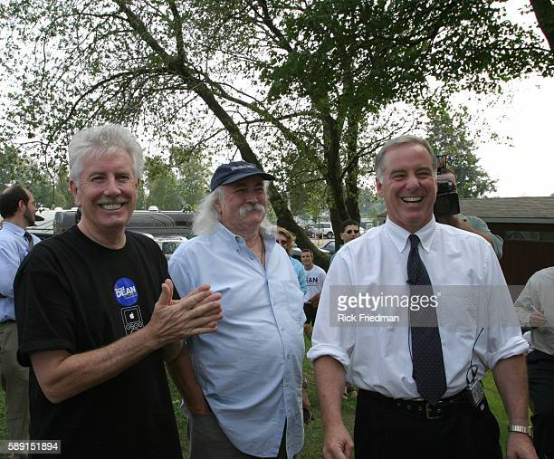 Howard Dean campaigns at a softball game between the campaign staffs of Howard Dean Dick Gephardt John Kerry and Joseph Lieberman Dean was joined by...