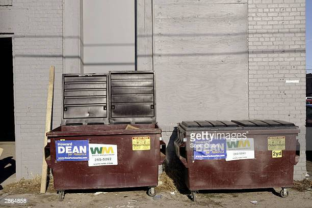 Howard Dean for President posters decorate the dumpsters behind the campaign office of democratic presidential candidate and former Vermont Governor...