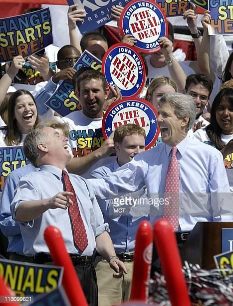 WASHINGTON DC Howard Dean left shares a laugh with Sen John Kerry during a campaign stop at George Washington University's Kogan Plaza in Washington...