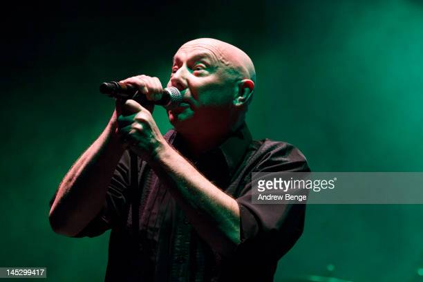 Howard Devoto of Buzzcocks performs on stage at Manchester Apollo on May 25, 2012 in Manchester, United Kingdom.