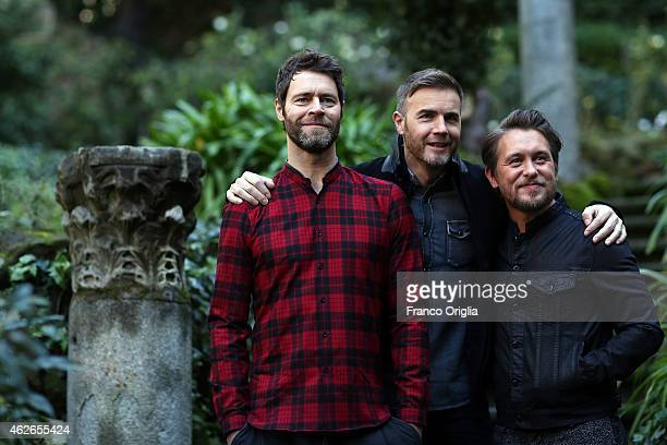 Howard Donald Gary Barlow and Mark Owen of Take That attend the Kingsman Secret Service Rome Photocall on February 2 2015 in Rome Italy