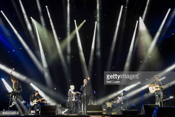 Howard Donald Gary Barlow and Mark Owen of Take That perform live on stage during BBC Radio 2 Live at Hyde Park on September 10 in London ENGLAND