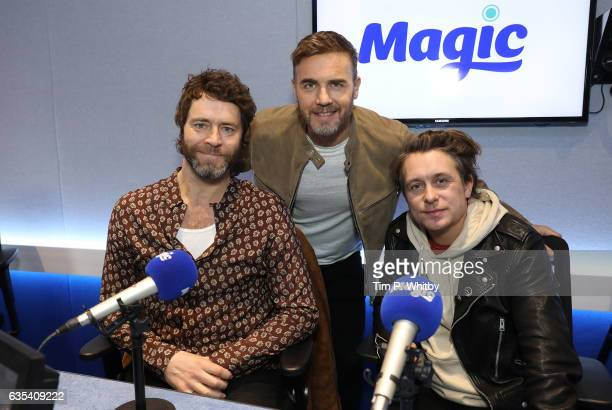 Howard Donald Gary Barlow and Mark Owen of Take That visit the Magic Radio studios on February 15 2017 in London United Kingdom