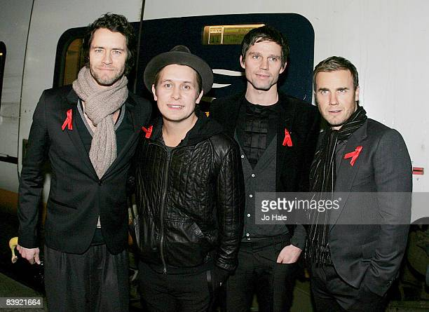 Howard Donald Mark Owen Jason Orange and Gary Barlow of Take That pose at Gare Du Nord station after taking the Eurostar onroute to the album launch...