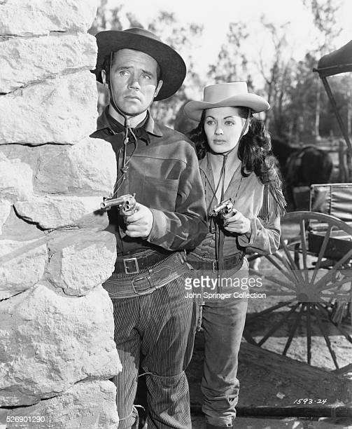 Howard Duff as Sam Bass and Yvonne De Carlo as Calamity Jane in the 1949 film Calamity Jane and Sam Bass