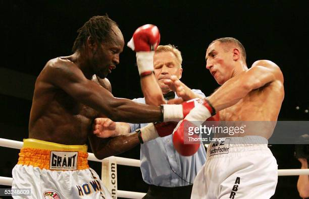 Howard Eastman and Arthur Abraham during the intercontinental WBA middleweight fight on July 16 2005 in Nuremberg Germany
