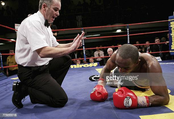Howard Eastman knocks down Richard Williams in the last round to win the vacant British Middleweight title on December 15 2006 at York Hall in London...