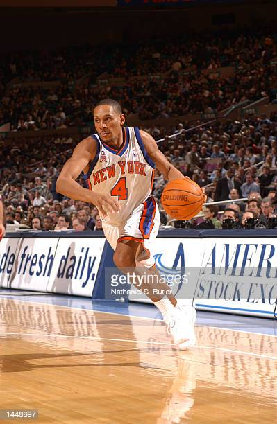 Howard Eisley of the New York Knicks drives to the basket during the second quarter of a game against the Houston Rockets at Madison Square Garden in...