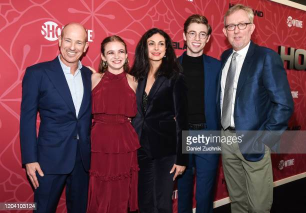 Howard Gordon Morgan Saylor Morena Baccarin Jackson Pace and Alex Gansa attend Showtime's Homeland Season 8 premiere at Museum of Modern Art on...