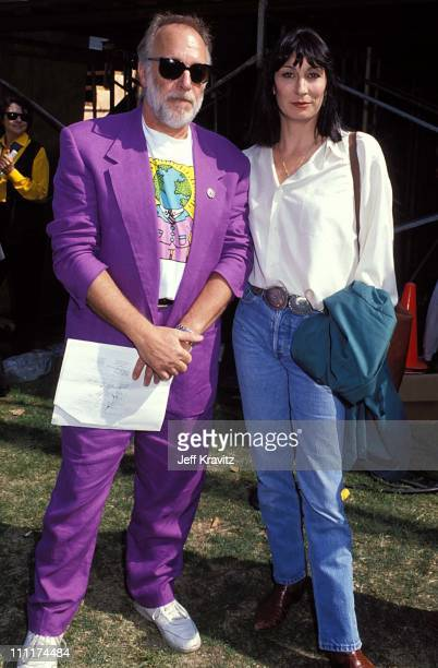 Howard Hesseman Anjelica Huston during Earth Day Rally and Concert in Central Park 1990 at Central Park in New York New York United States