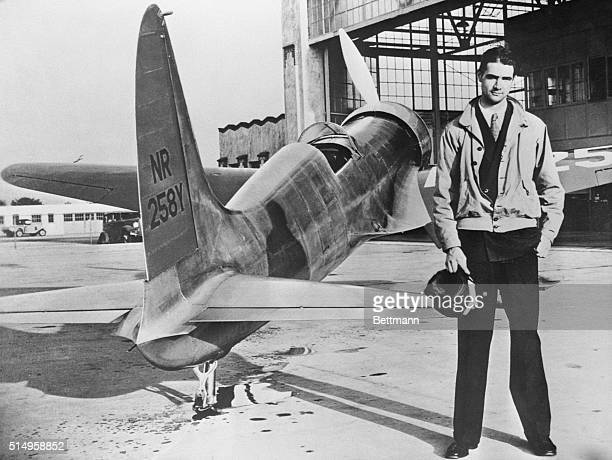 """Howard Hughes' first plane, the H-1, a featherweight midget, was the ancestor of his newly-built """"flying boat,"""" compared to Hughes' latest Goliath -..."""