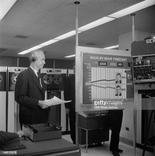 Howard K Smith reporting from the IBM Headquarters on the 1960 election night coverage Image dated November 8 1960