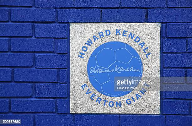 Howard Kendall crest is seen outside the stadium prior to the Barclays Premier League match between Everton and Stoke City at Goodison Park on...