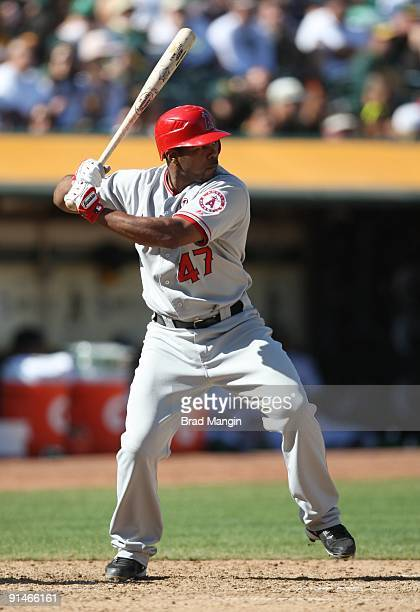 Howard Kendrick of the Los Angeles Angels of Anaheim bats against the Oakland Athletics during the game at the OaklandAlameda County Coliseum on...