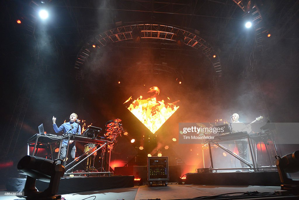 Howard Lawrence (L) and Guy Lawrence of Disclosure perform as part of the Coachella Valley Music and Arts Festival at The Empire Polo Club on April 20, 2014 in Indio, California.