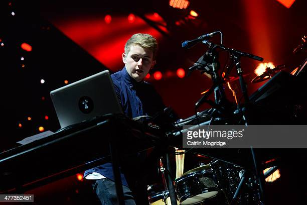 Howard Lawrence of Disclosure performs on stage at Alexandra Palace on March 8, 2014 in London, United Kingdom.