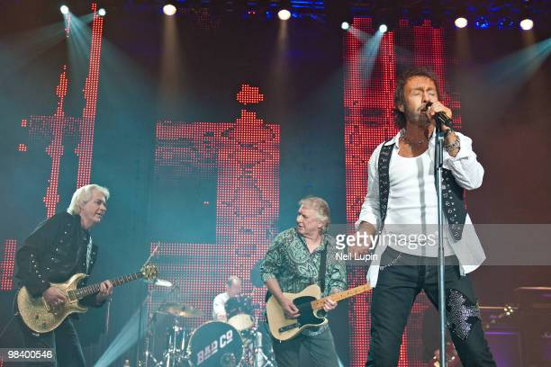 Howard Leese Simon Kirke Mick Ralphs and Paul Rodgers of Bad Company perform on stage at Wembley Arena on April 11 2010 in London England