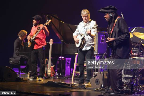 "Howard Levy Victor Wooten Bela Fleck and Roy ""Futureman"" Wooten of BeŽla Fleck and the Flecktones perform during the 2018 Montreal International Jazz..."