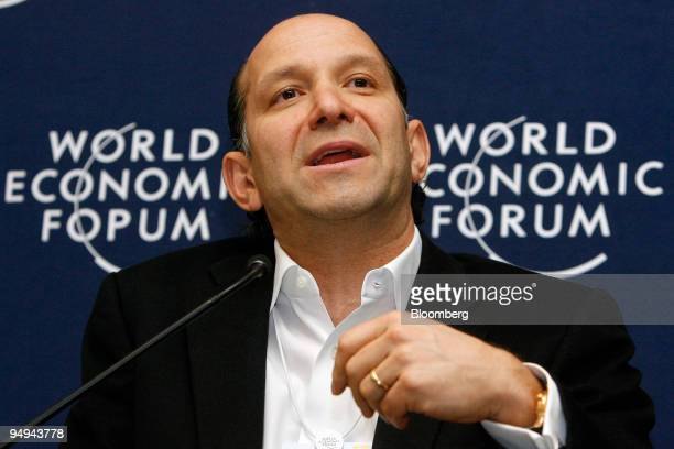 Howard Lutnick chairman and chief executive officer of Cantor Fitzgerald LP speaks during a session on day three of the World Economic Forum in Davos...