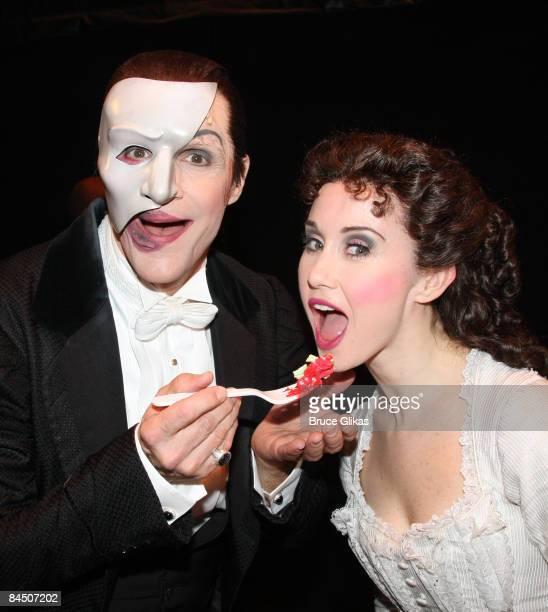 Howard McGillin as The Phantom and Elizabeth Loyacano as Christine at The Phantom of the Opera 21st Anniversary Celebration on Broadway at the...
