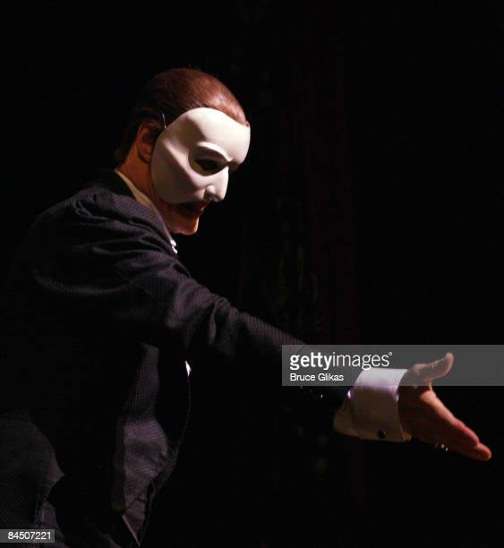 Howard McGillin as The Phantom at the curtain call for The Phantom of the Opera 21st Anniversary Celebration on Broadway at the Majestic Theatre on...