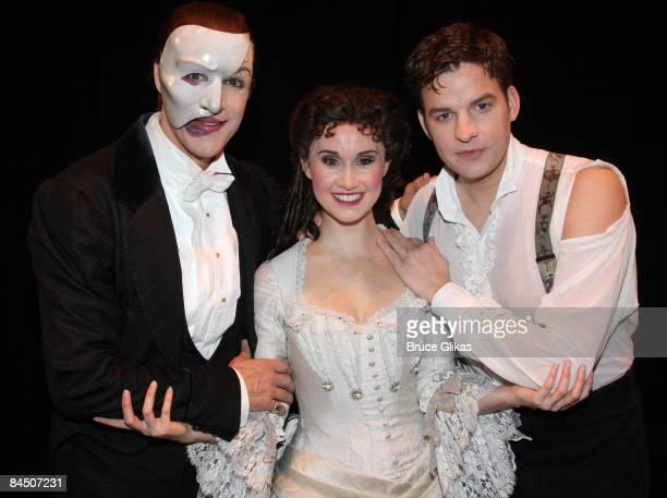 Howard McGillin as The Phantom Elizabeth Loyacano as Christine and Tim Martin Gleason as Raoul at The Phantom of the Opera 21st Anniversary...