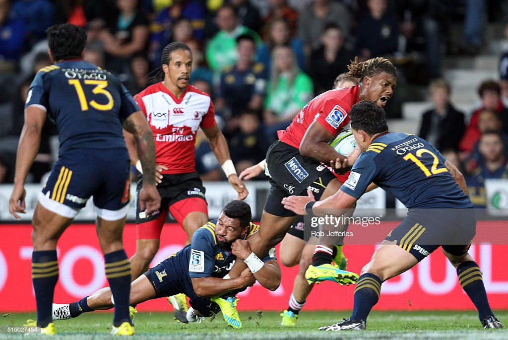 Howard Mnisi of the Lions on the attack during the round three Super Rugby match between the Highlanders and the Lions at Rugby Park on March 12, 2016 in Dunedin, New Zealand.