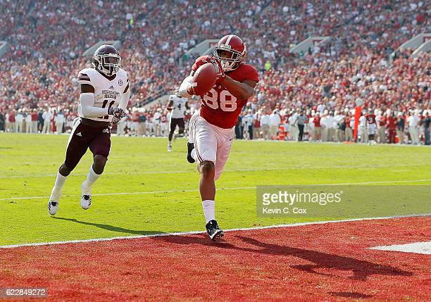 J Howard of the Alabama Crimson Tide fails to pull in this touchdown reception against Kivon Coman of the Mississippi State Bulldogs at BryantDenny...