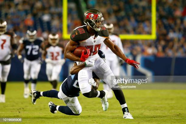 O J Howard of the Bucs makes a catch during the preseason game between the Tennessee Titans and Tampa Bay Buccaneers on August 18 2018 at Nissan...
