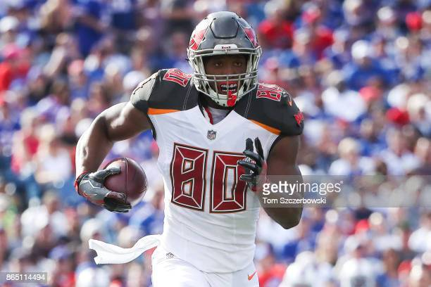 J Howard of the Tampa Bay Buccaneers runs with the ball during the second quarter of an NFL game against the Buffalo Bills on October 22 2017 at New...