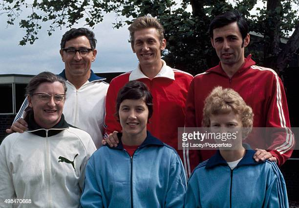 Howard Payne and wife Rosemary Payne John Sherwood and wife Sheila Sherwood David Cropper and wife Pat Cropper posing for a photograph during the...