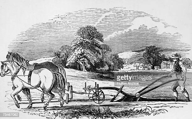 A Howard plough at work on a field 1860