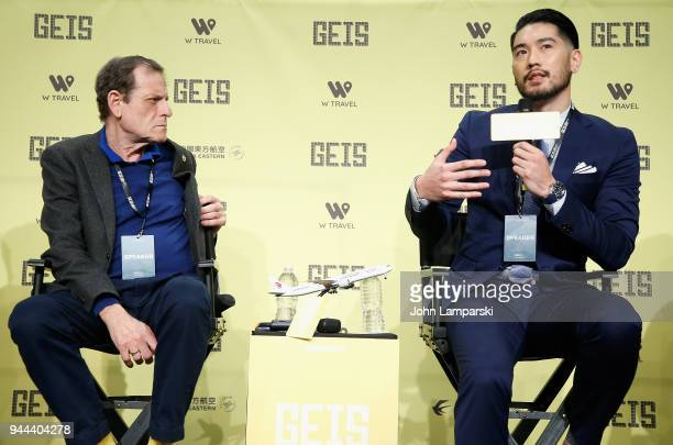 Howard Rosenman and Godfrey Gao speak during the Global Entertainment Industry Summit at the Manhattan Center on April 10 2018 in New York City