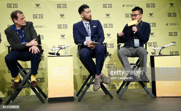 Howard Rosenman Godfrey Gao and Nick Yang speak during the Global Entertainment Industry Summit at the Manhattan Center on April 10 2018 in New York...